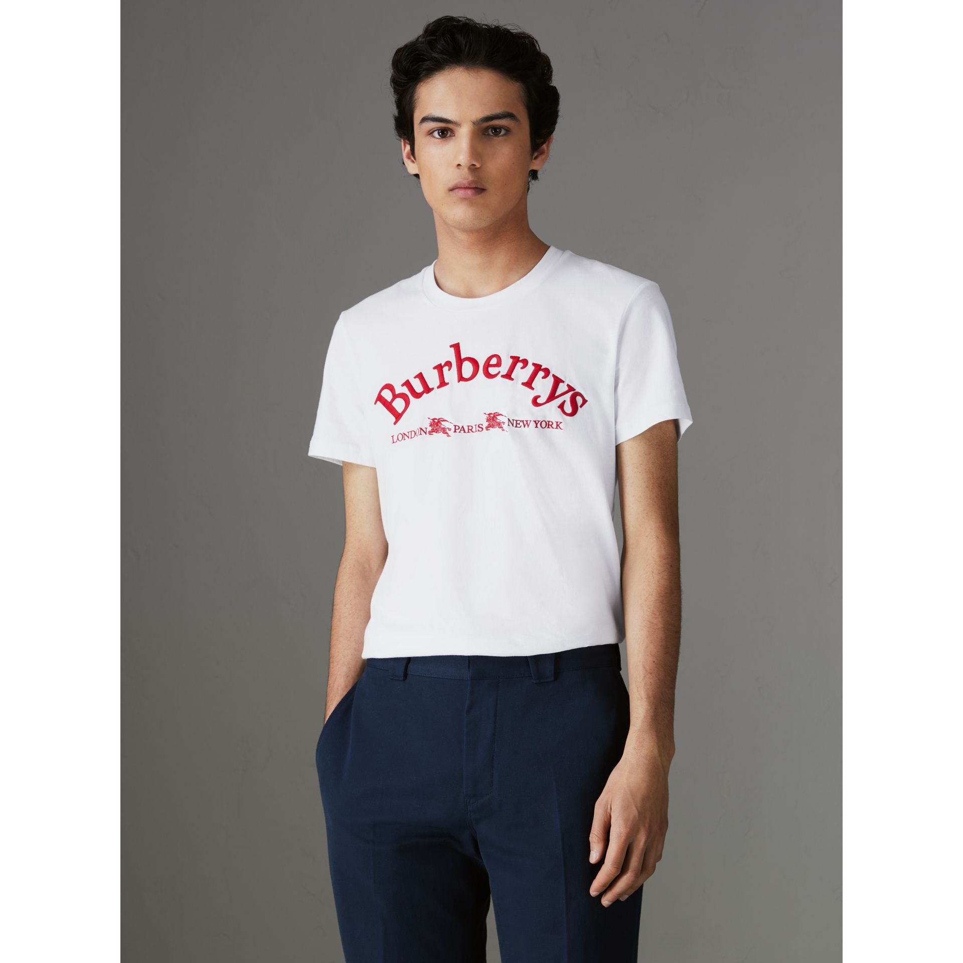 Archive Logo Cotton T-shirt in White - Men | Burberry - gallery image 0