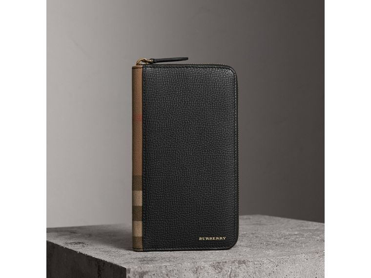 House Check and Grainy Leather Ziparound Wallet in Black | Burberry - cell image 1