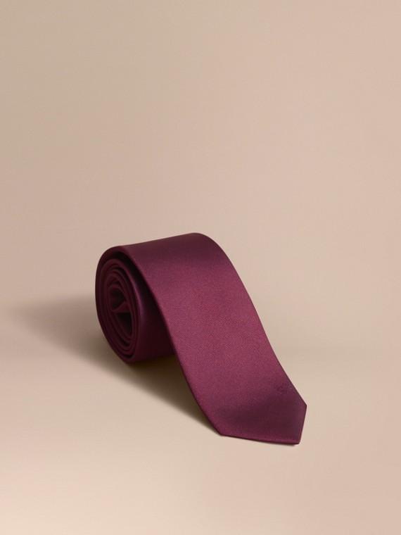 Modern Cut Silk Twill Tie in Dark Plum Pink