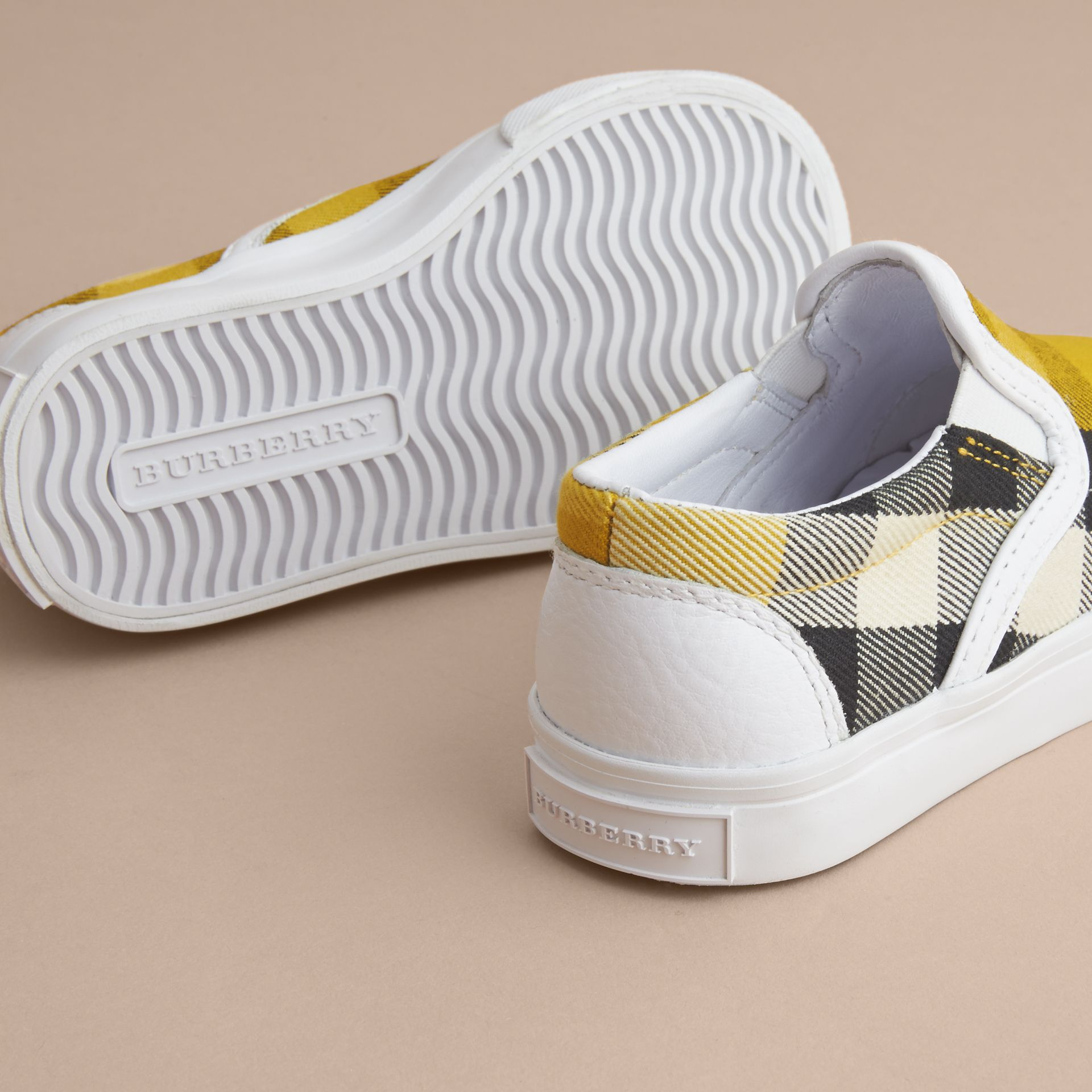 Tonal House Check and Leather Slip-on Trainers in Gorse Yellow - Children | Burberry - gallery image 2
