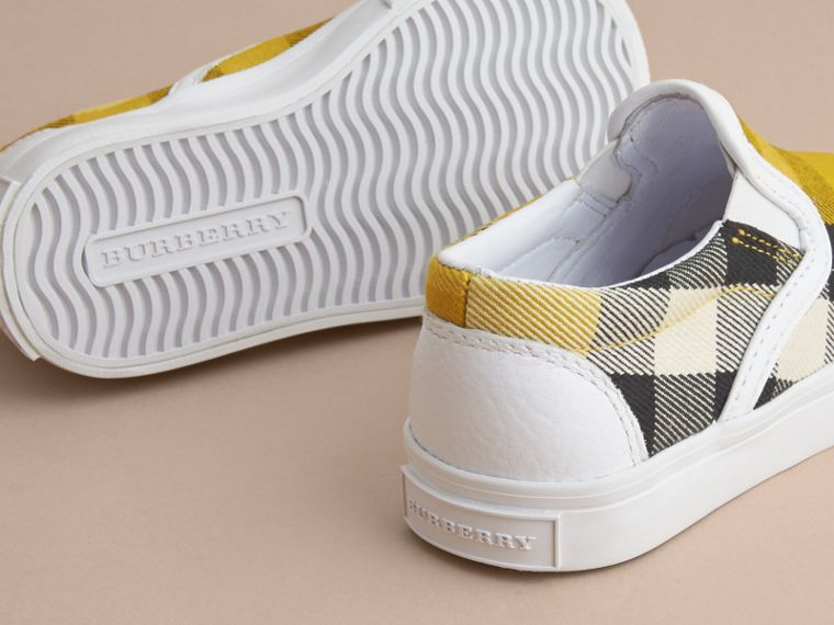 Tonal House Check and Leather Slip-on Trainers in Gorse Yellow - Children | Burberry Australia - cell image 1