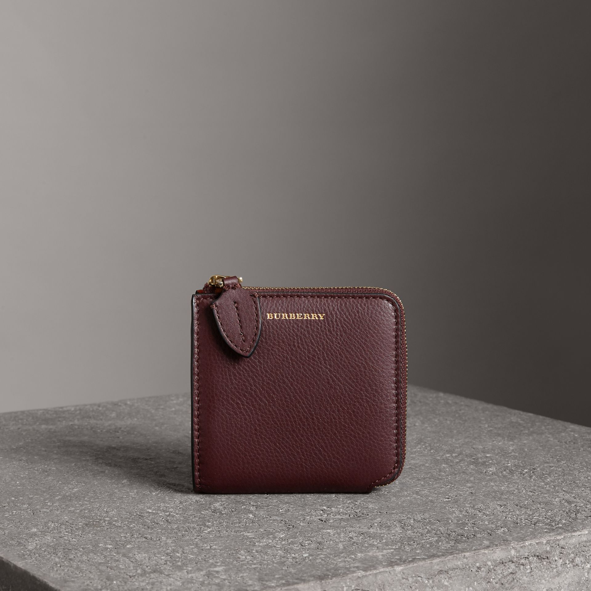 Grainy Leather Square Ziparound Wallet in Deep Claret - Women | Burberry - gallery image 0