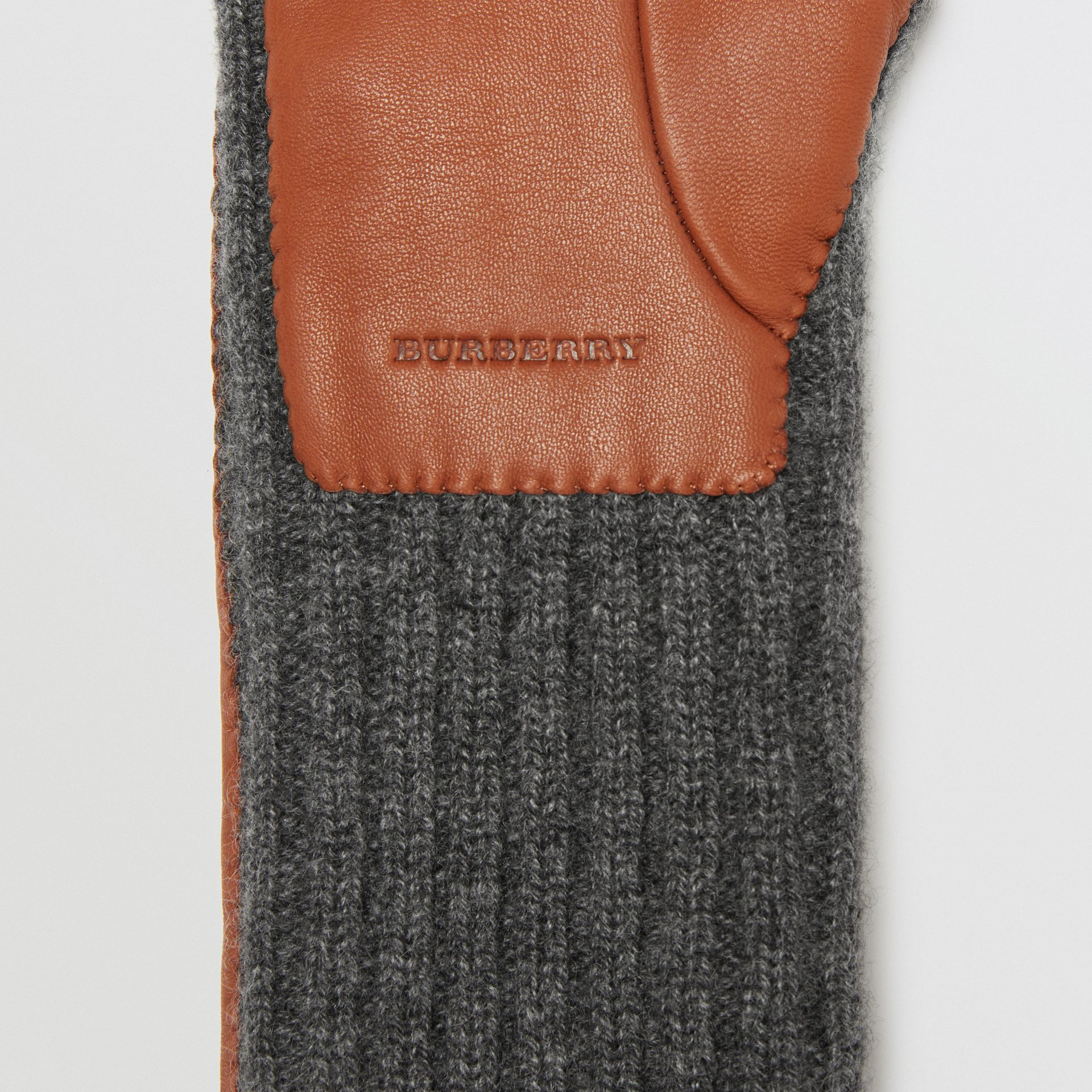 Cashmere and Lambskin Longline Gloves in Tan/charcoal - Women | Burberry United Kingdom - gallery image 1