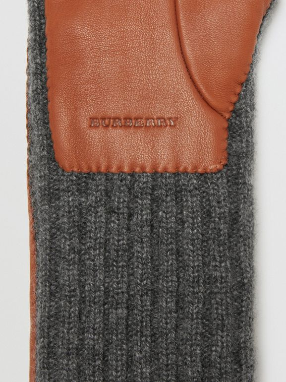 Cashmere and Lambskin Longline Gloves in Tan/charcoal - Women | Burberry United Kingdom - cell image 1