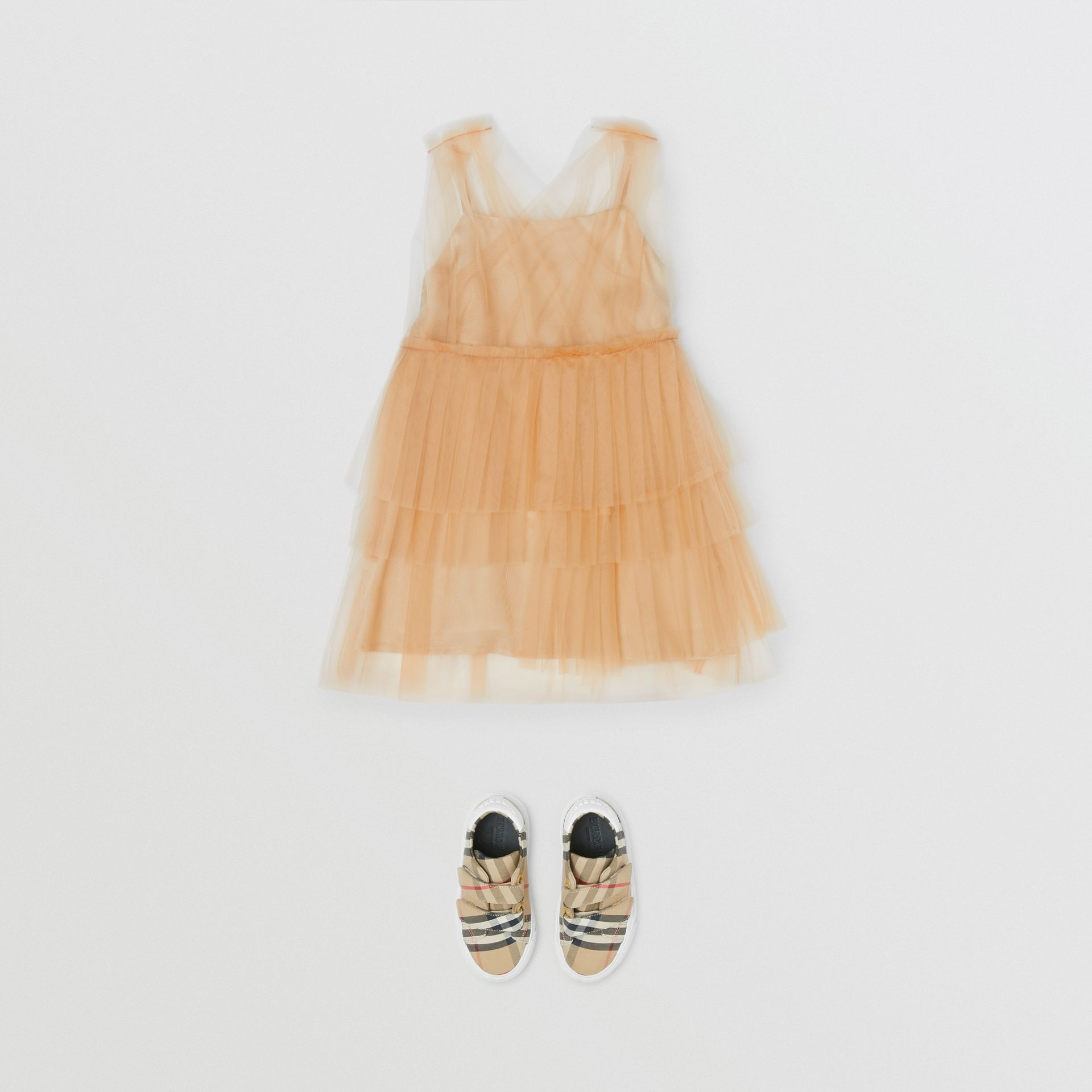 Tulle Tiered Dress in Oyster Beige - Children | Burberry - gallery image 2