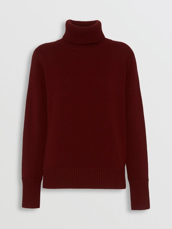 Embroidered Crest Cashmere Roll-neck Sweater in Red - Women | Burberry - cell image 3