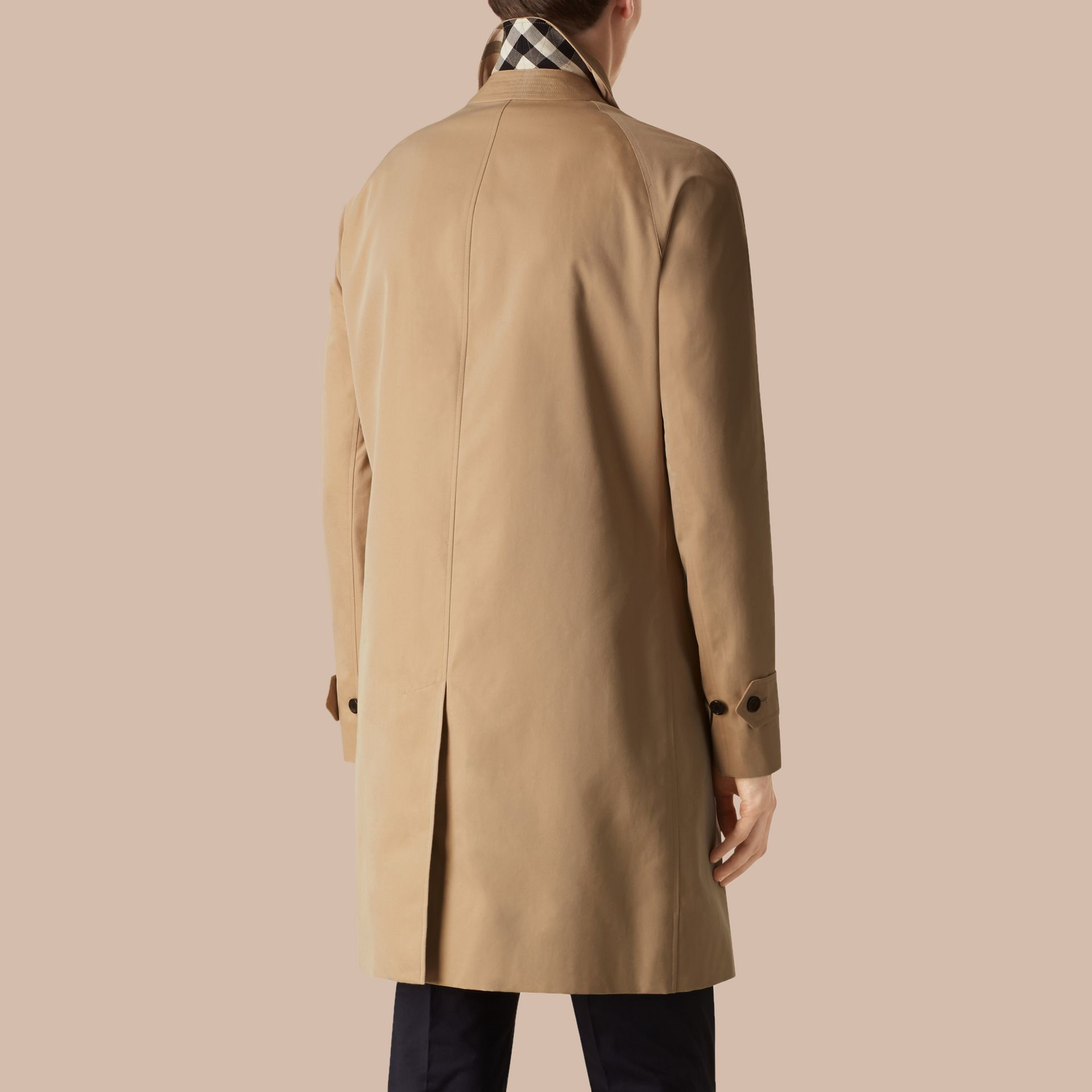 Long Cotton Gabardine Car Coat in Honey - gallery image 3