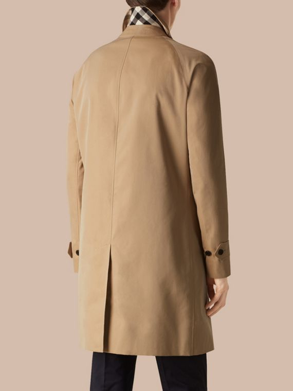 Long Cotton Gabardine Car Coat in Honey - cell image 2