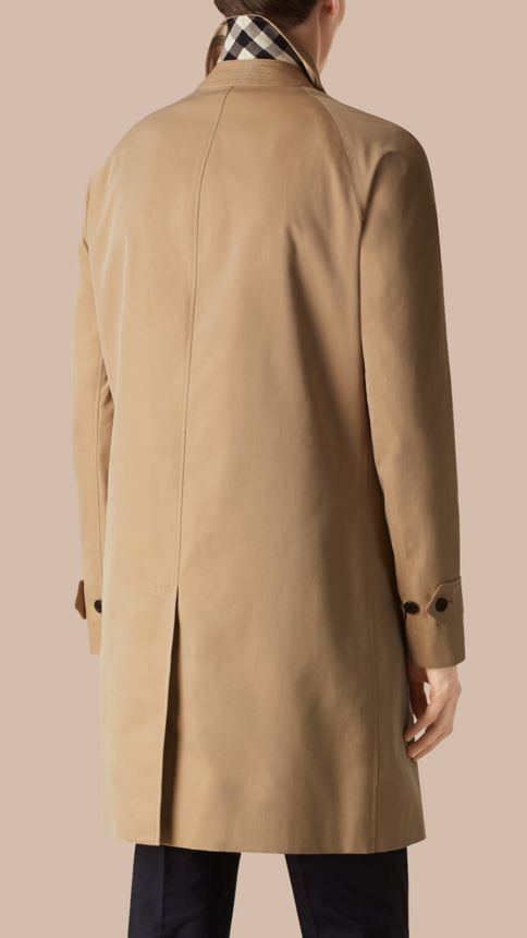 Honey Long Cotton Gabardine Car Coat Honey - Image 3