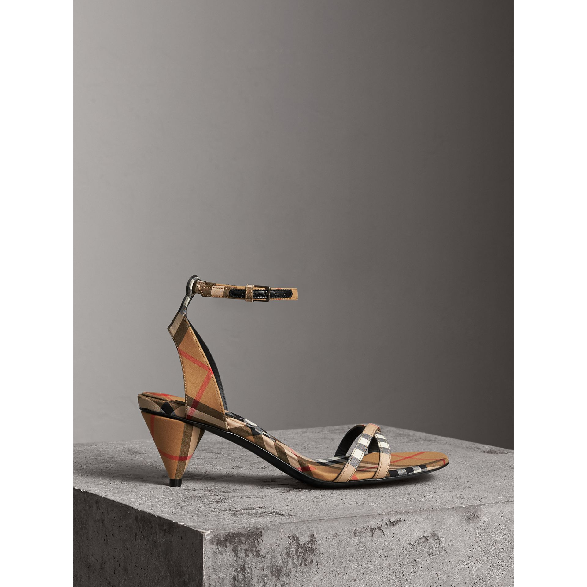 Vintage Check Cotton Cone-heel Sandals in Antique Yellow - Women | Burberry - gallery image 1
