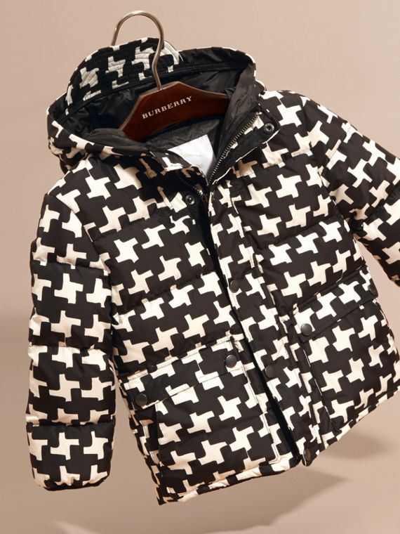 Natural white Geometric Print Down-filled Jacket Natural White - cell image 2