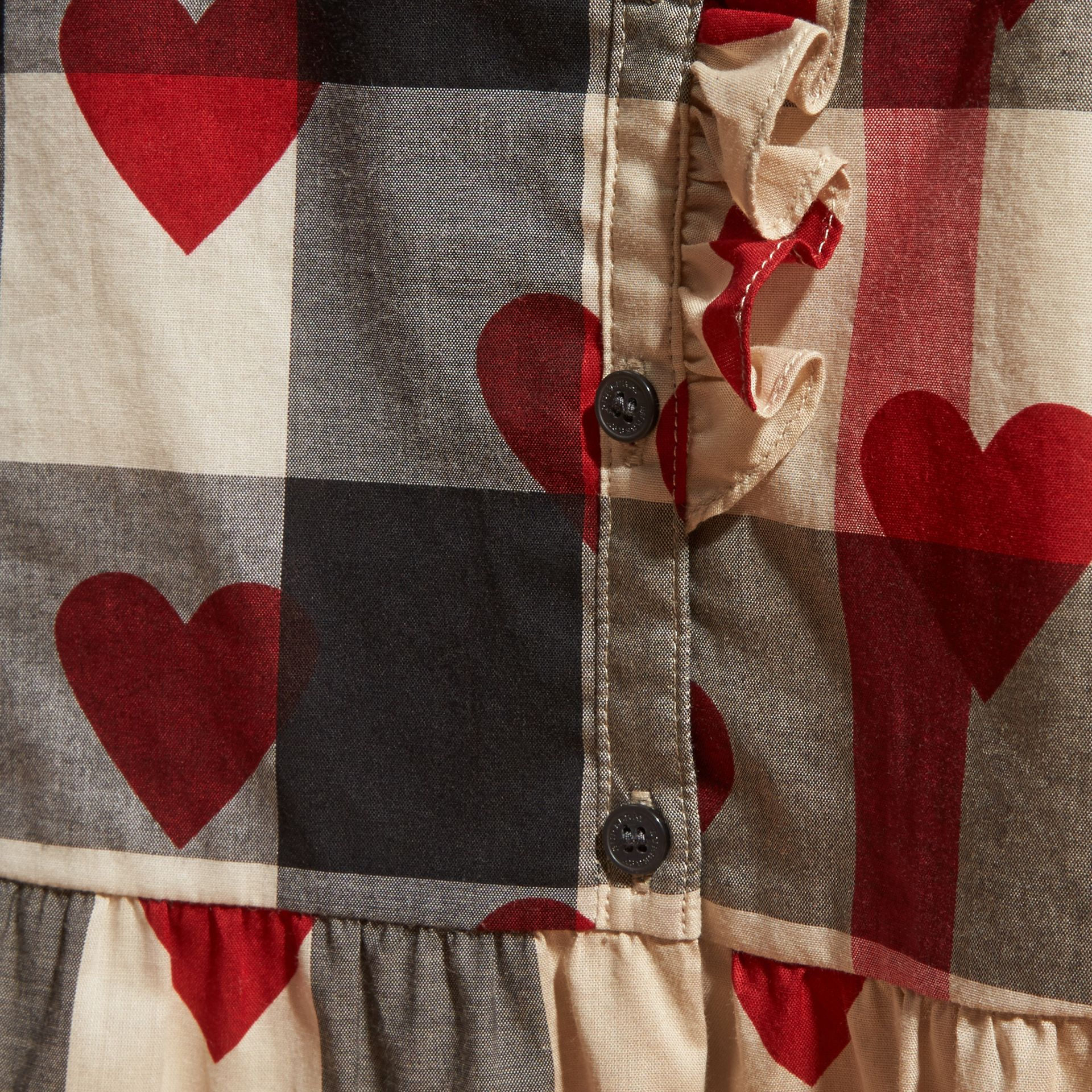 Parade red Heart and Check Cotton A-line Dress - gallery image 2