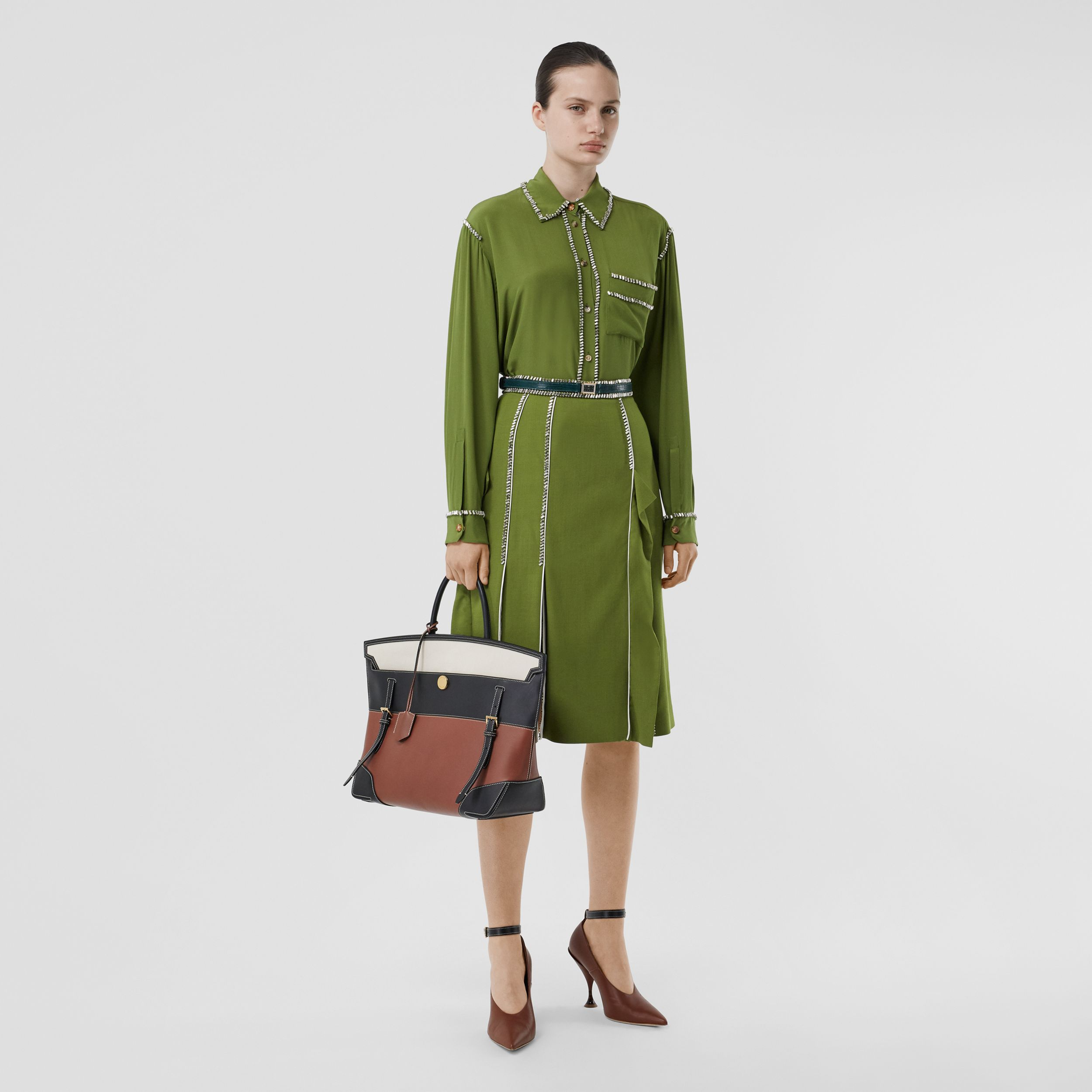 Crystal Detail Panelled Wool Crepe A-line Skirt in Cedar Green - Women | Burberry - 1