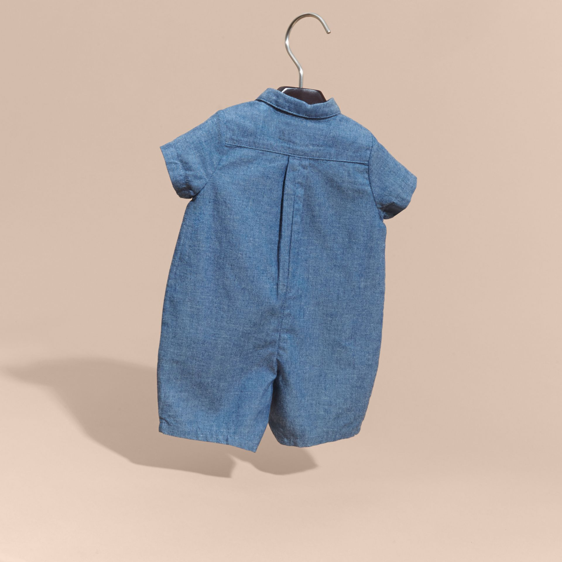 Stone blue Buttoned Cotton Chambray Playsuit - gallery image 4