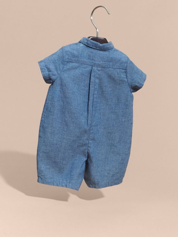 Buttoned Cotton Chambray Playsuit - cell image 3