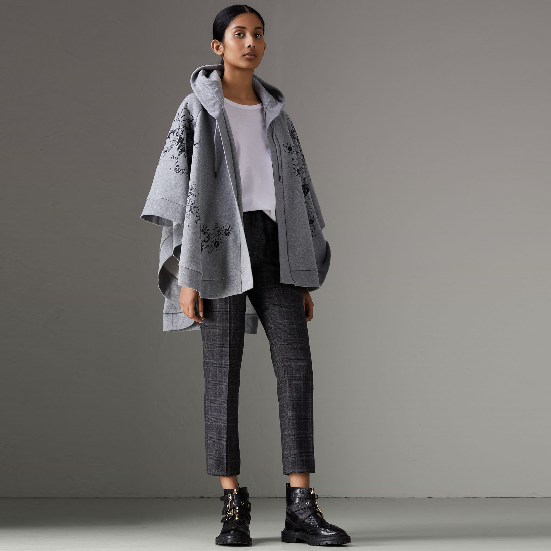 Doodle Print Jersey Hooded Cape in Pale Grey Melange - Women | Burberry Australia - gallery image 0