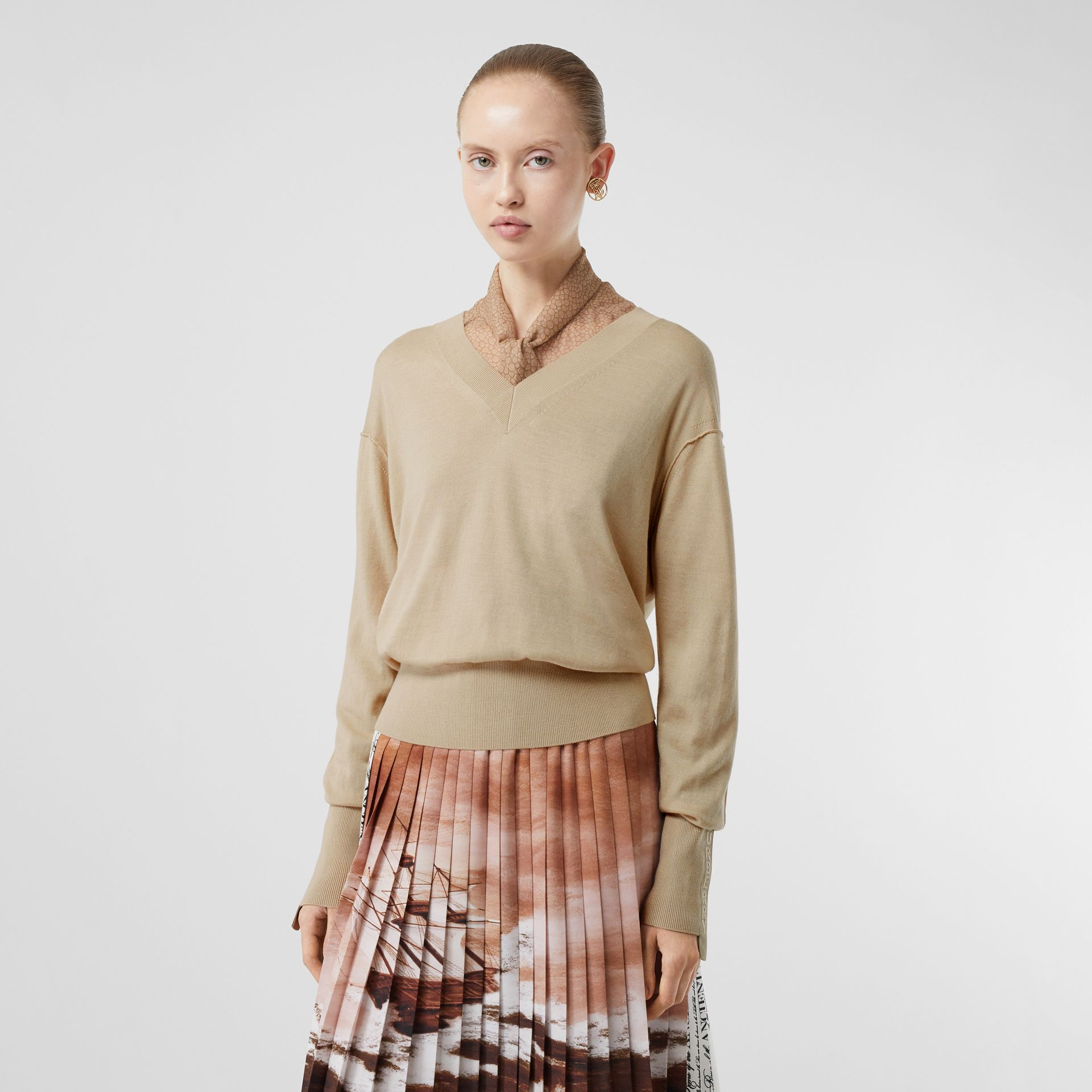 Logo Detail Merino Wool Silk Sweater in Pale Ochre - Women | Burberry - gallery image 4