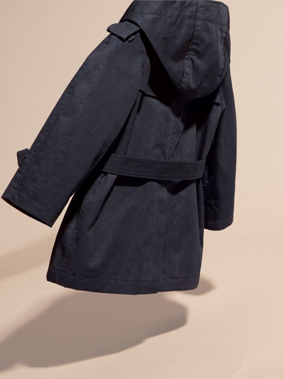 Ink Hooded Cotton Twill Trench Coat - cell image 3