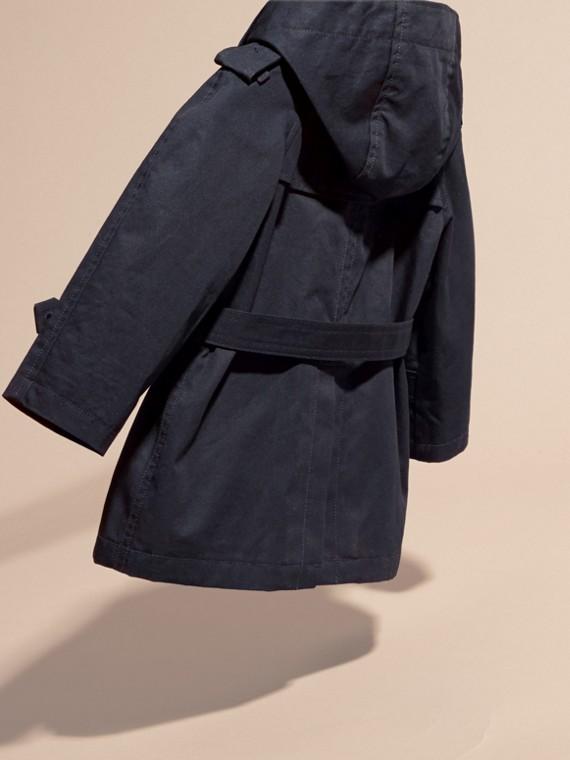 Ink Trench coat de sarja de algodão com capuz - cell image 3
