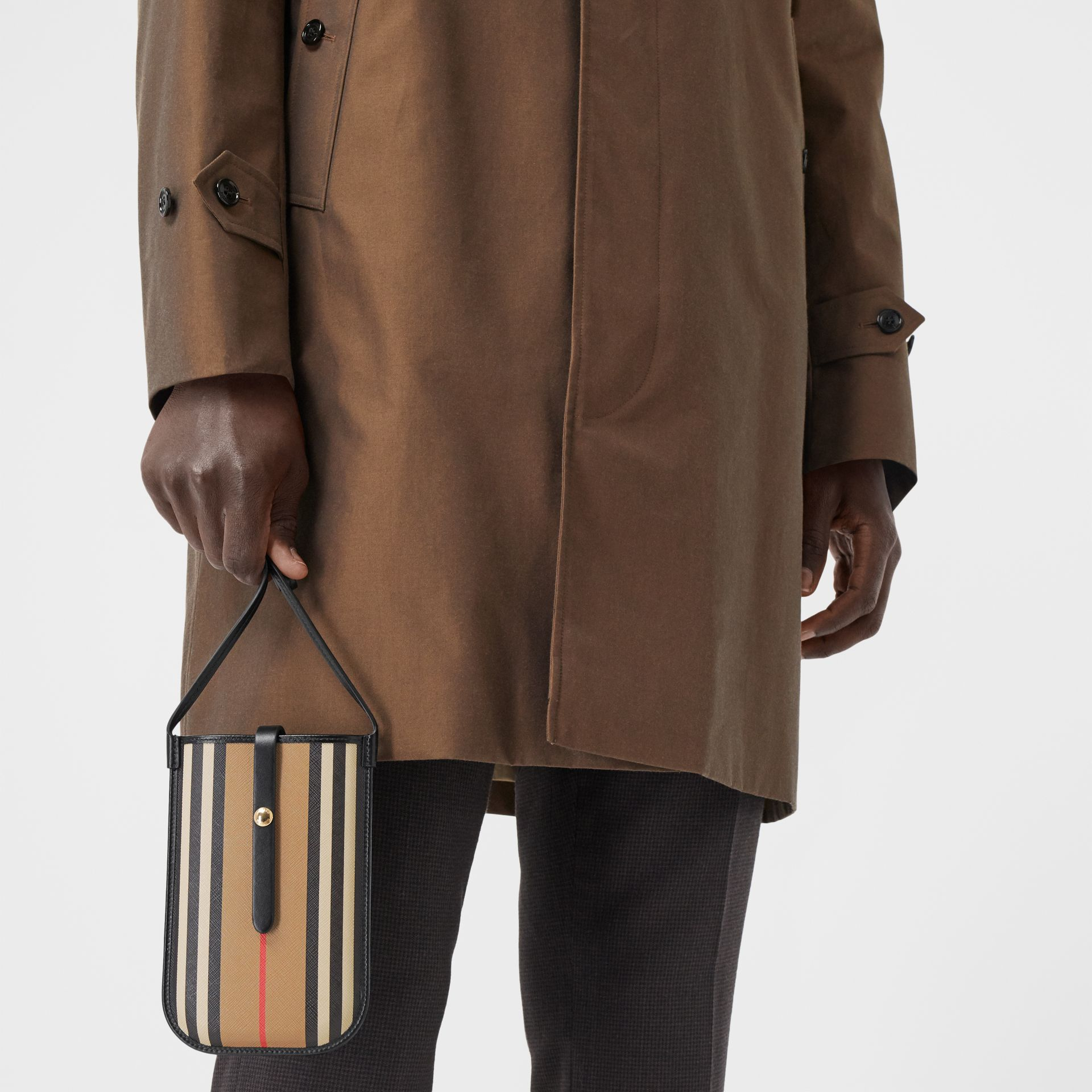 Icon Stripe E-canvas Phone Case with Strap in Archive Beige | Burberry Hong Kong S.A.R - gallery image 8