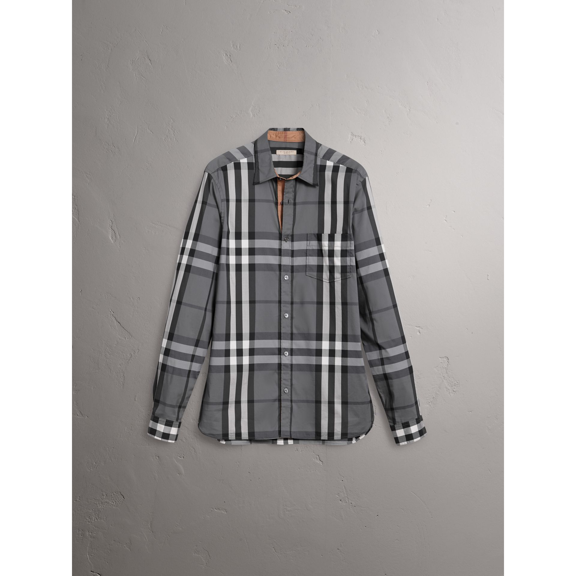 Check Stretch Cotton Shirt in Charcoal - Men | Burberry United Kingdom - gallery image 3