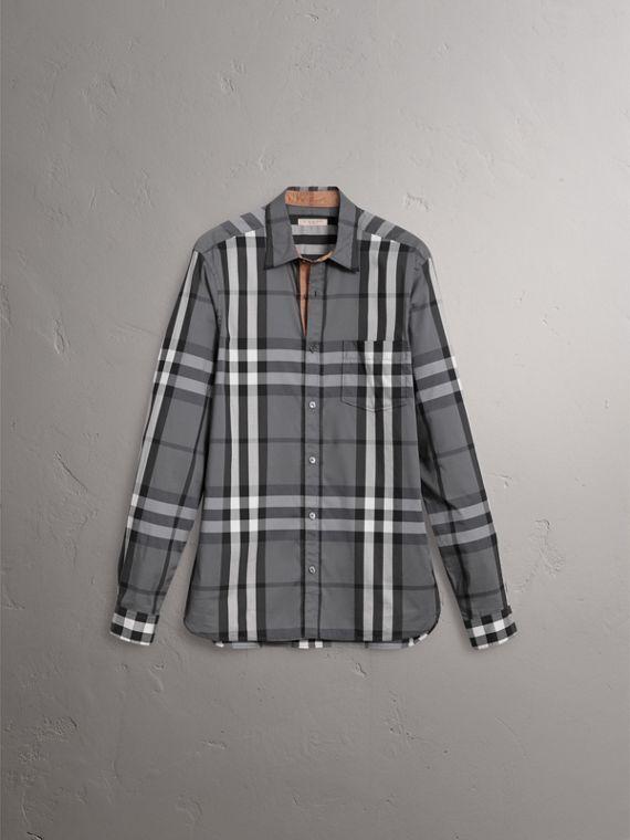 Check Stretch Cotton Shirt in Charcoal - Men | Burberry Canada - cell image 3