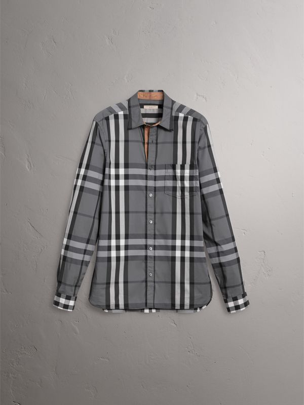 Check Stretch Cotton Shirt in Charcoal - Men | Burberry - cell image 3