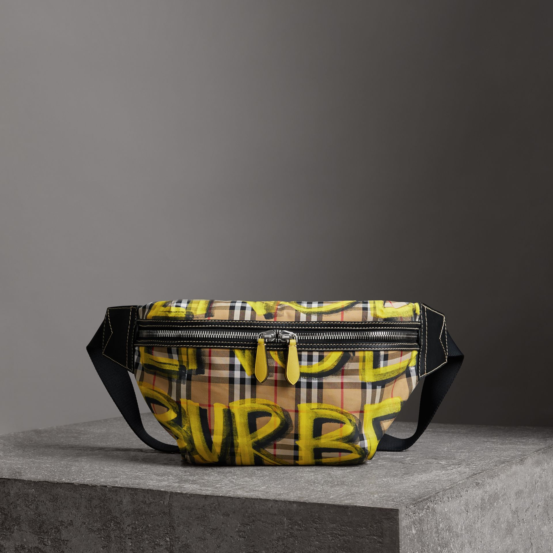 Large Graffiti Print Vintage Check and Leather Bum Bag in Bright Yellow/antique Yellow - Men | Burberry United States - gallery image 0