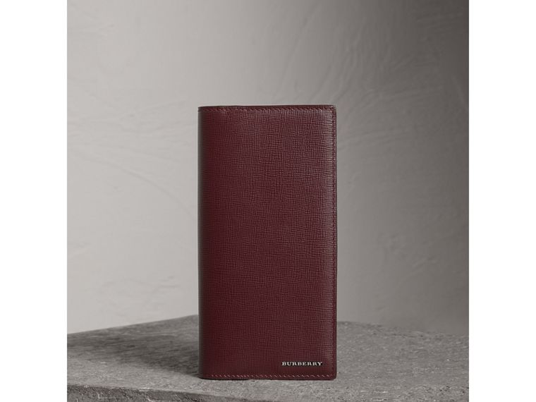 London Leather Continental Wallet in Burgundy Red - Men | Burberry Australia - cell image 4
