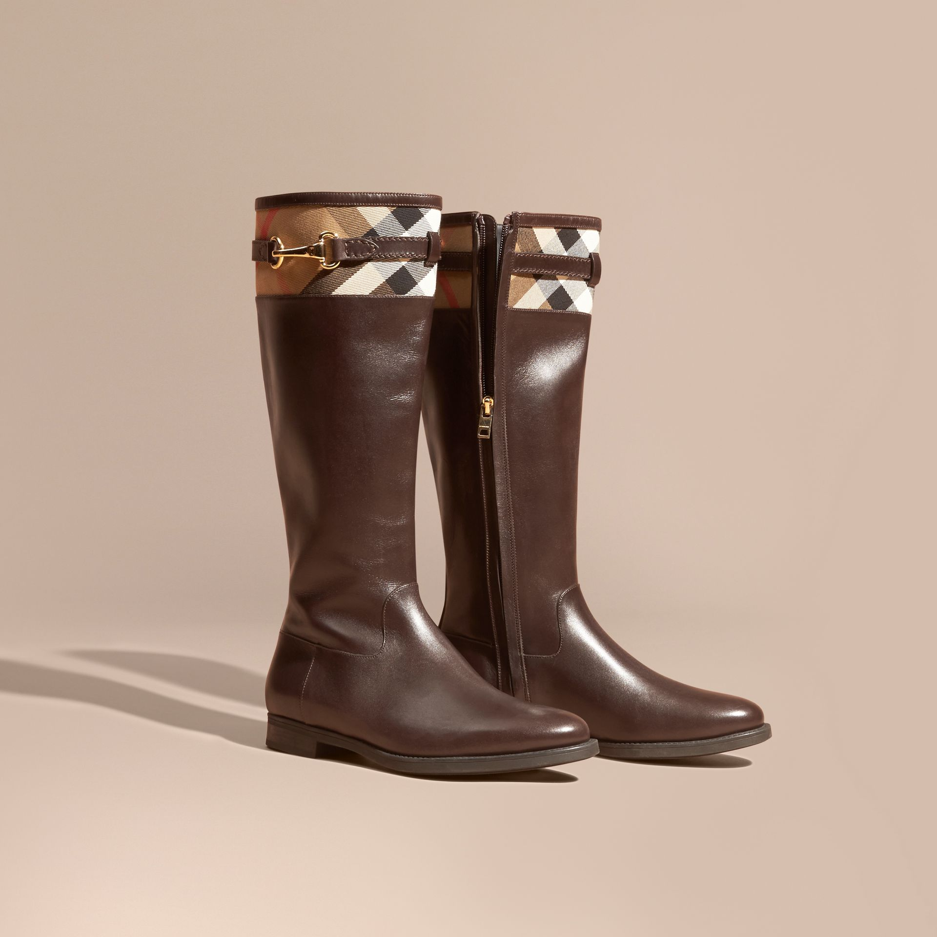 House Check Detail Leather Riding Boots - gallery image 1