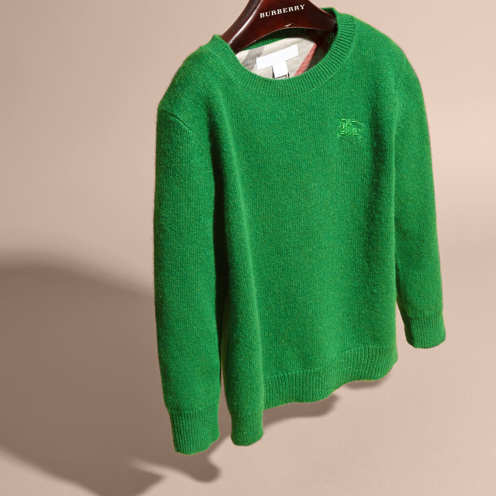 Check Elbow Patch Cashmere Sweater in Bright Pigment Green - gallery image 3