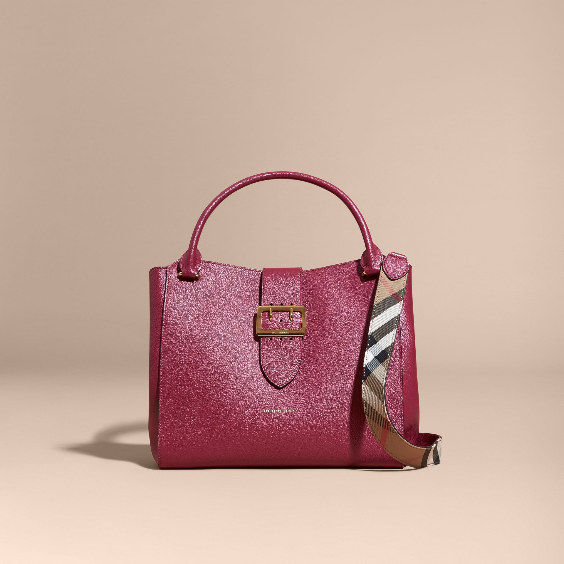 The Large Buckle Tote in Grainy Leather Dark Plum - gallery image 9