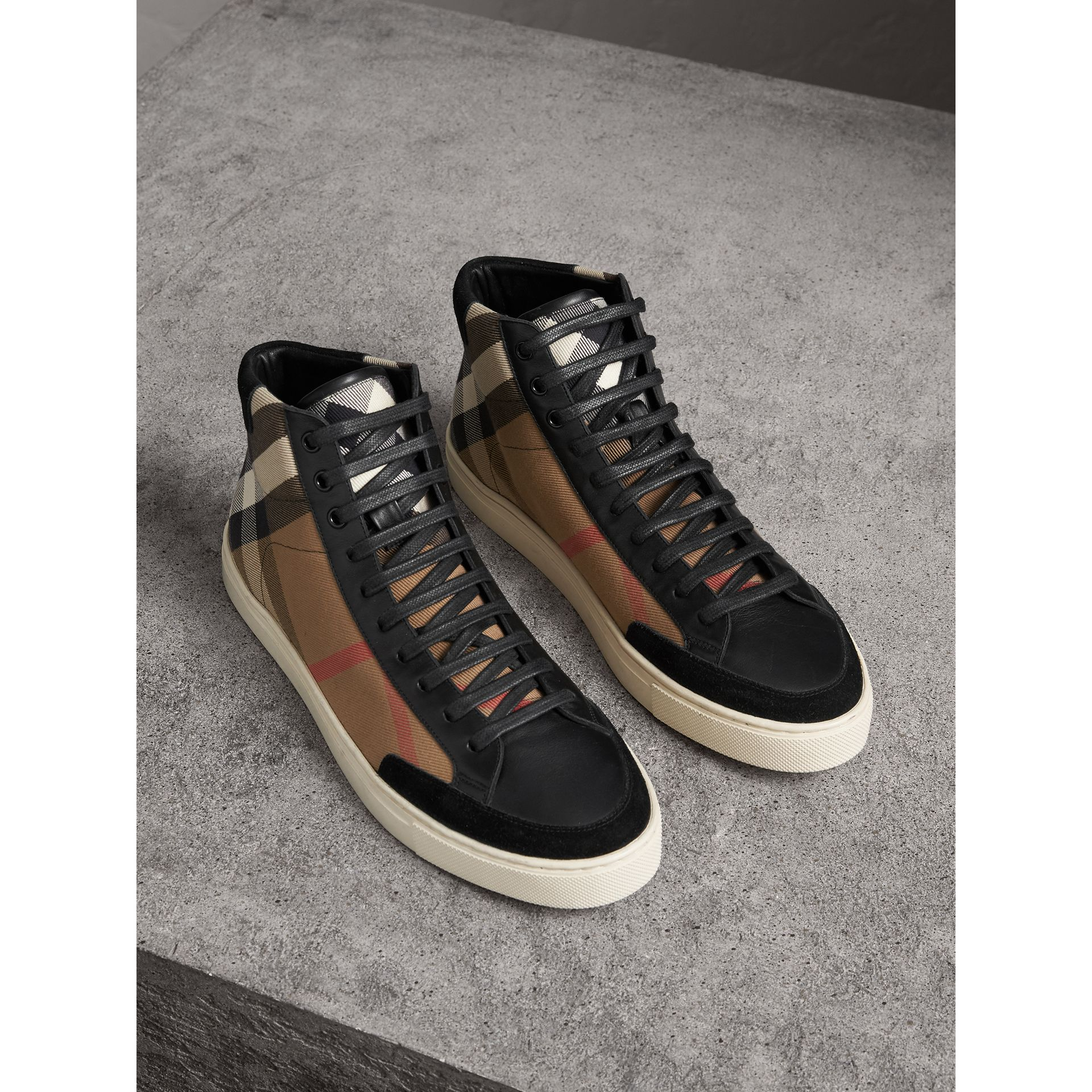 House Check and Leather High-top Trainers in Black - Men | Burberry - gallery image 0