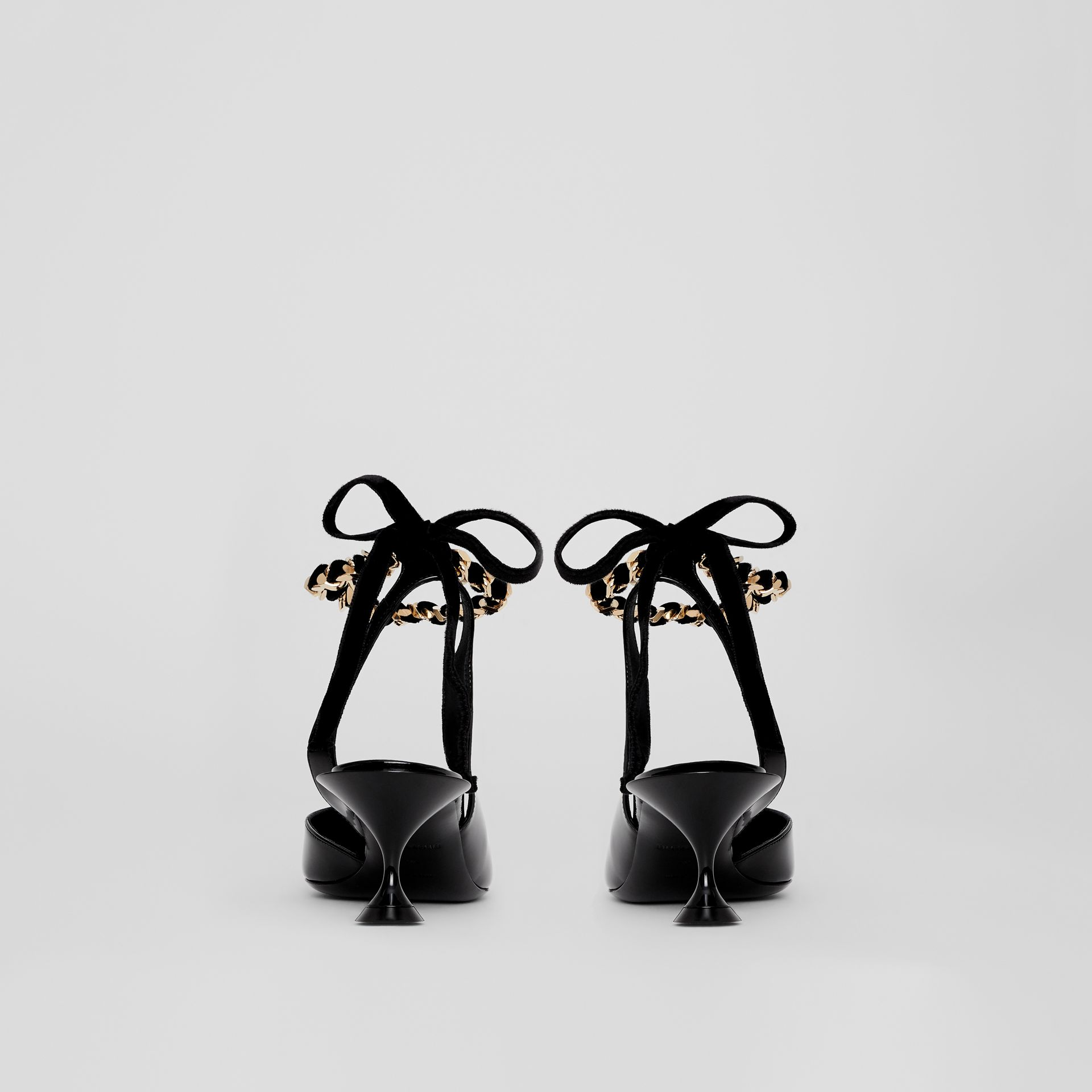 Chain Detail Leather Slingback Pumps in Black - Women | Burberry Canada - gallery image 4