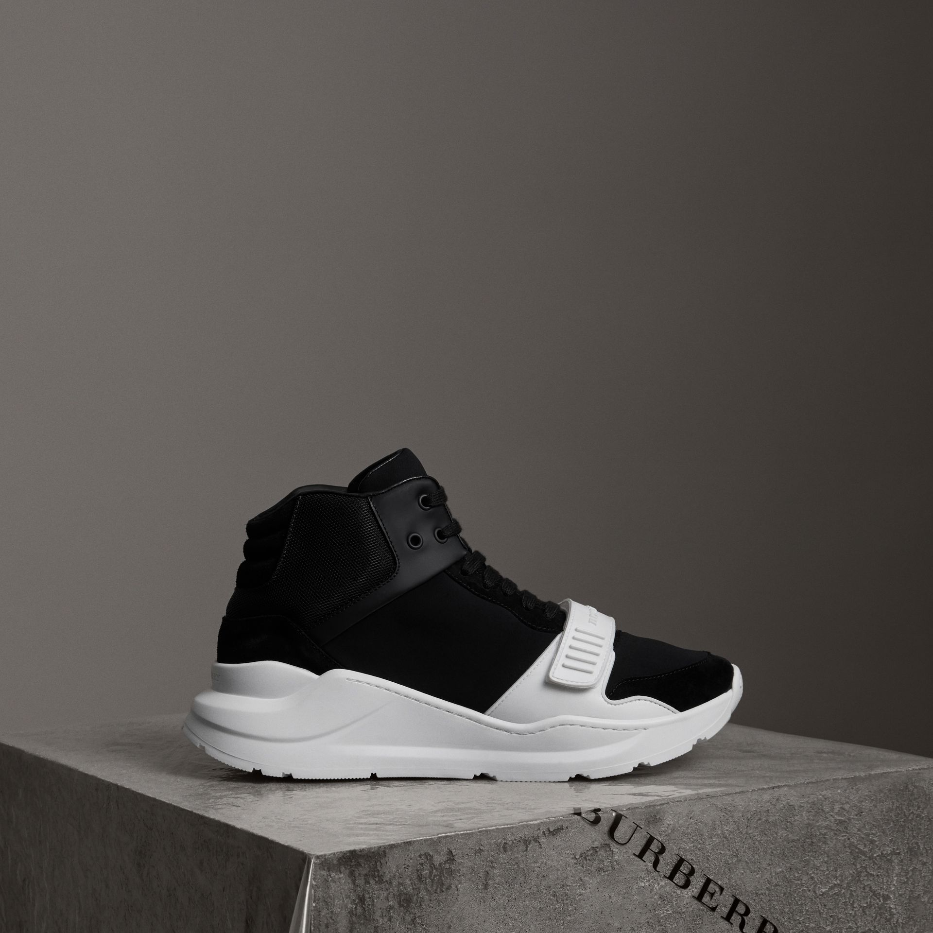 Suede Trim Neoprene High-top Sneakers in Black/optic White | Burberry - gallery image 0