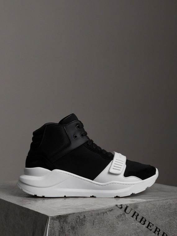 Zapatillas deportivas de botín en ante y neopreno (Negro / Blanco Óptico)