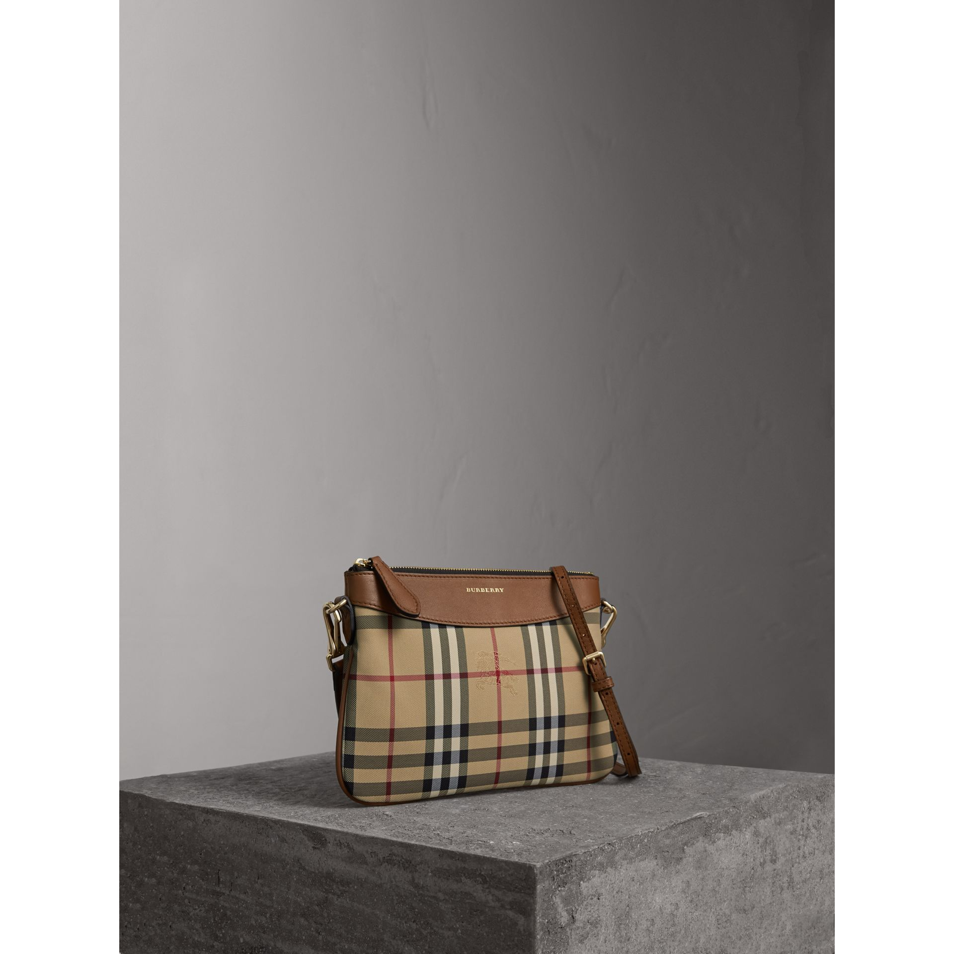 Horseferry Check and Leather Clutch Bag in Tan - Women | Burberry Singapore - gallery image 1