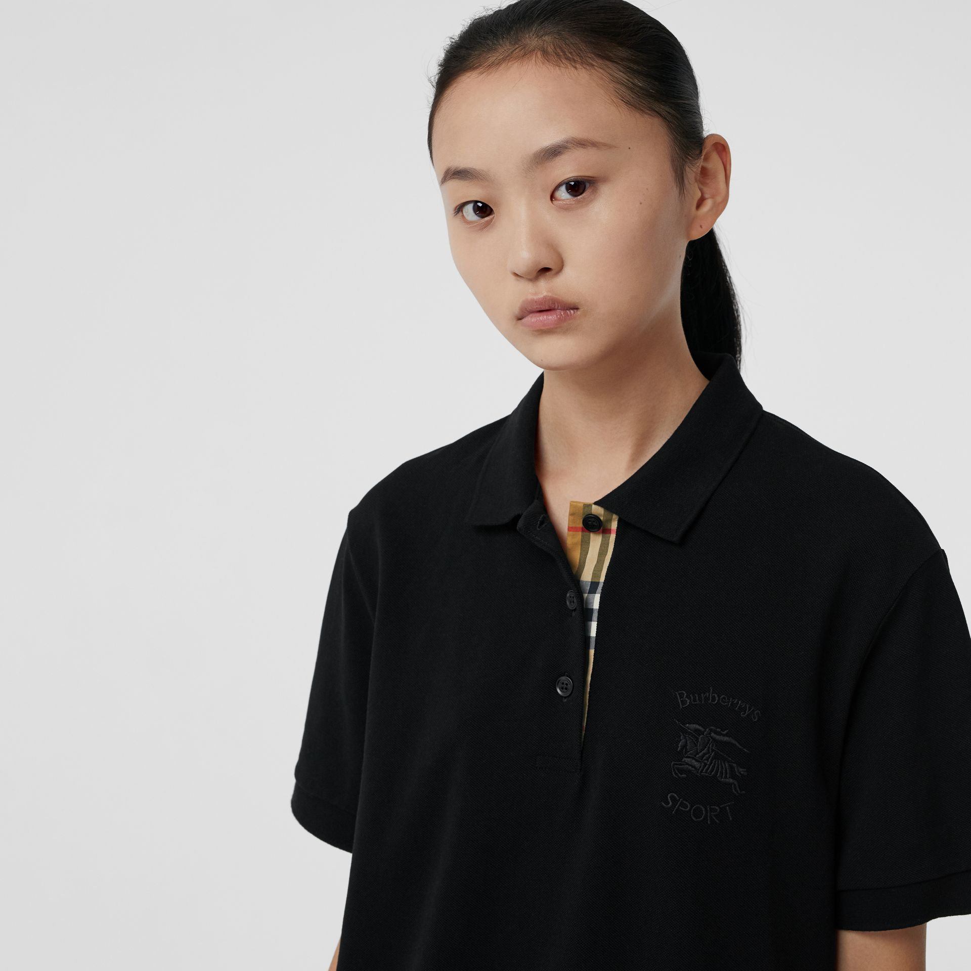 Check Placket Cotton Piqué Polo Shirt in Black - Women | Burberry Canada - gallery image 1