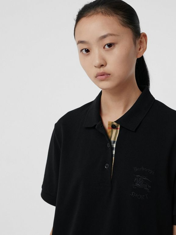 Check Placket Cotton Piqué Polo Shirt in Black - Women | Burberry Canada - cell image 1