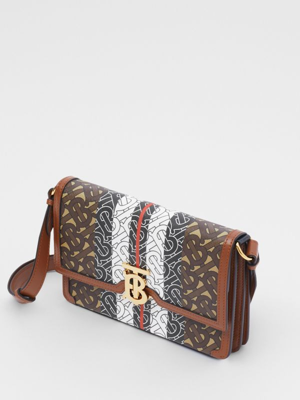 Small Monogram Stripe E-canvas Crossbody Bag in Bridle Brown - Women | Burberry United States - cell image 2