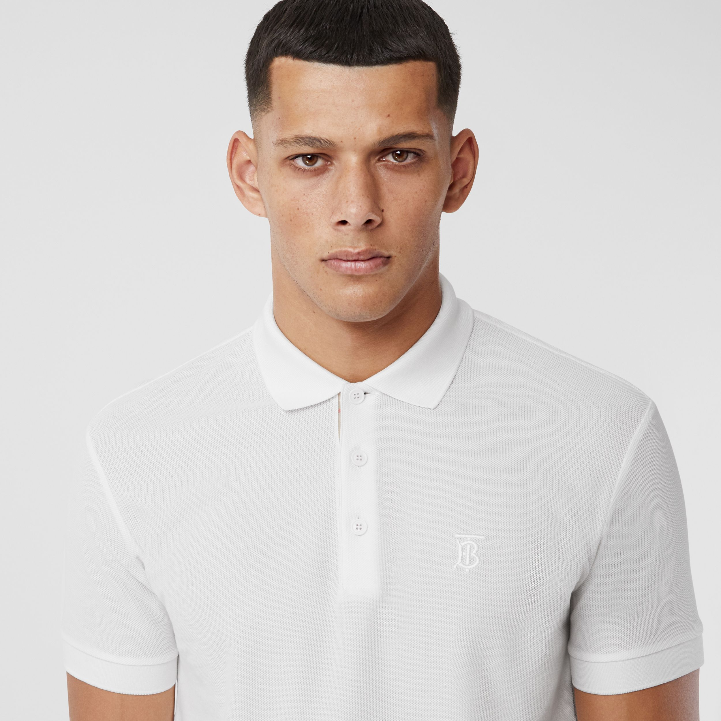 Monogram Motif Cotton Piqué Polo Shirt in White - Men | Burberry - 2