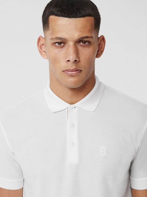 Monogram Motif Cotton Piqué Polo Shirt in White - Men | Burberry - cell image 1