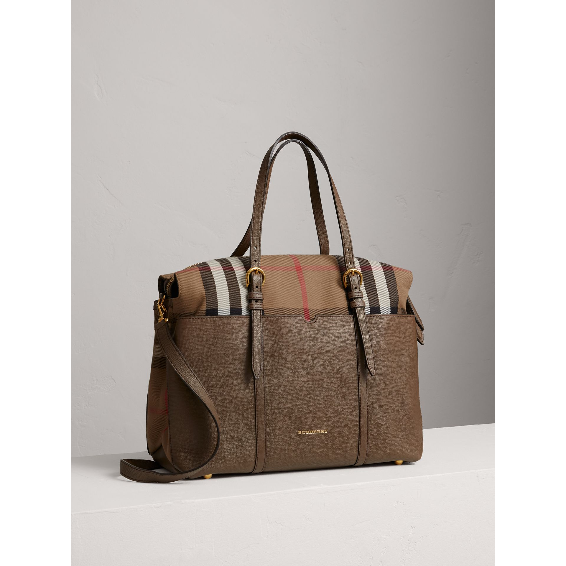 House Check and Leather Baby Changing Bag in Taupe Grey | Burberry - gallery image 5