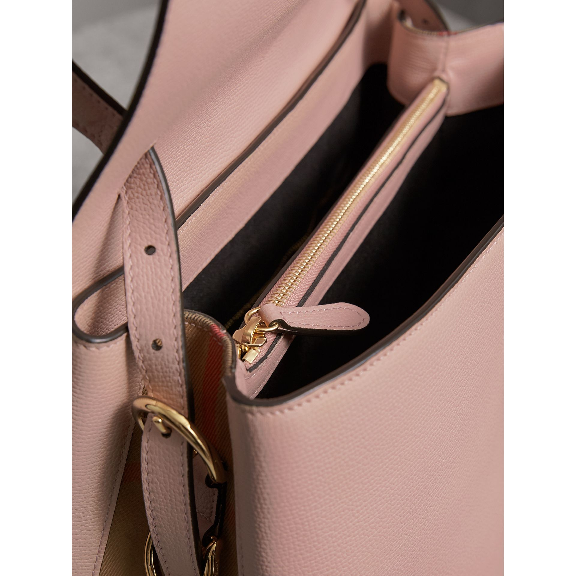 Medium Grainy Leather and House Check Tote Bag in Pale Orchid - Women | Burberry - gallery image 6