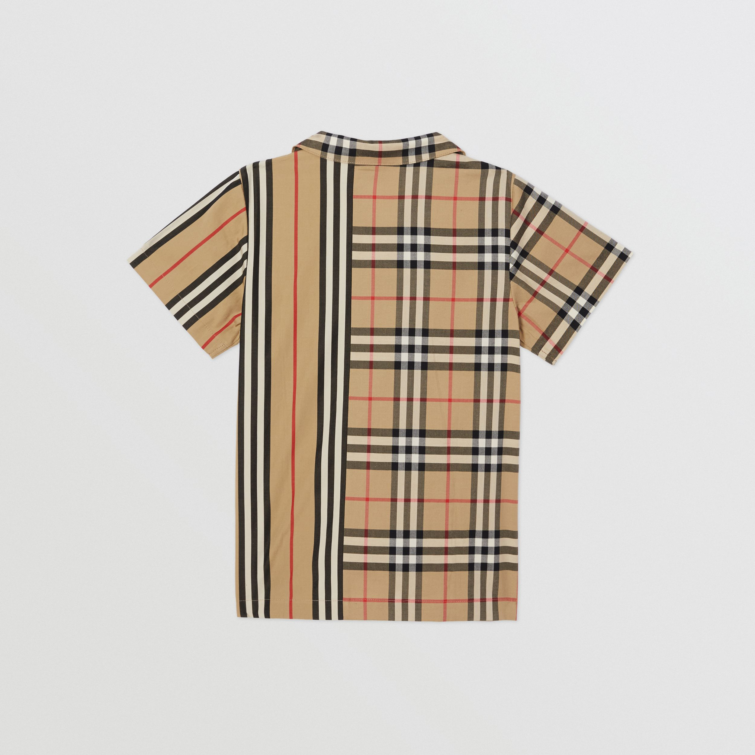 Short-sleeve Vintage Check and Icon Stripe Shirt in Archive Beige | Burberry - 4