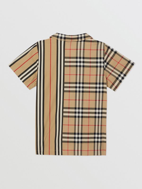Short-sleeve Vintage Check and Icon Stripe Shirt in Archive Beige | Burberry Australia - cell image 3