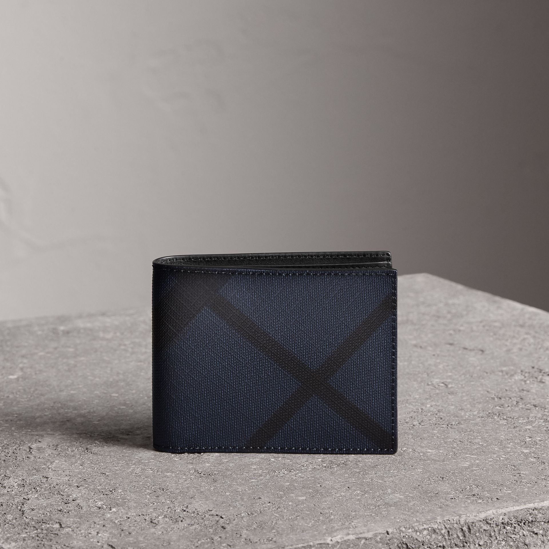 London Check and Leather Bifold Wallet in Navy/black - Men | Burberry - gallery image 0