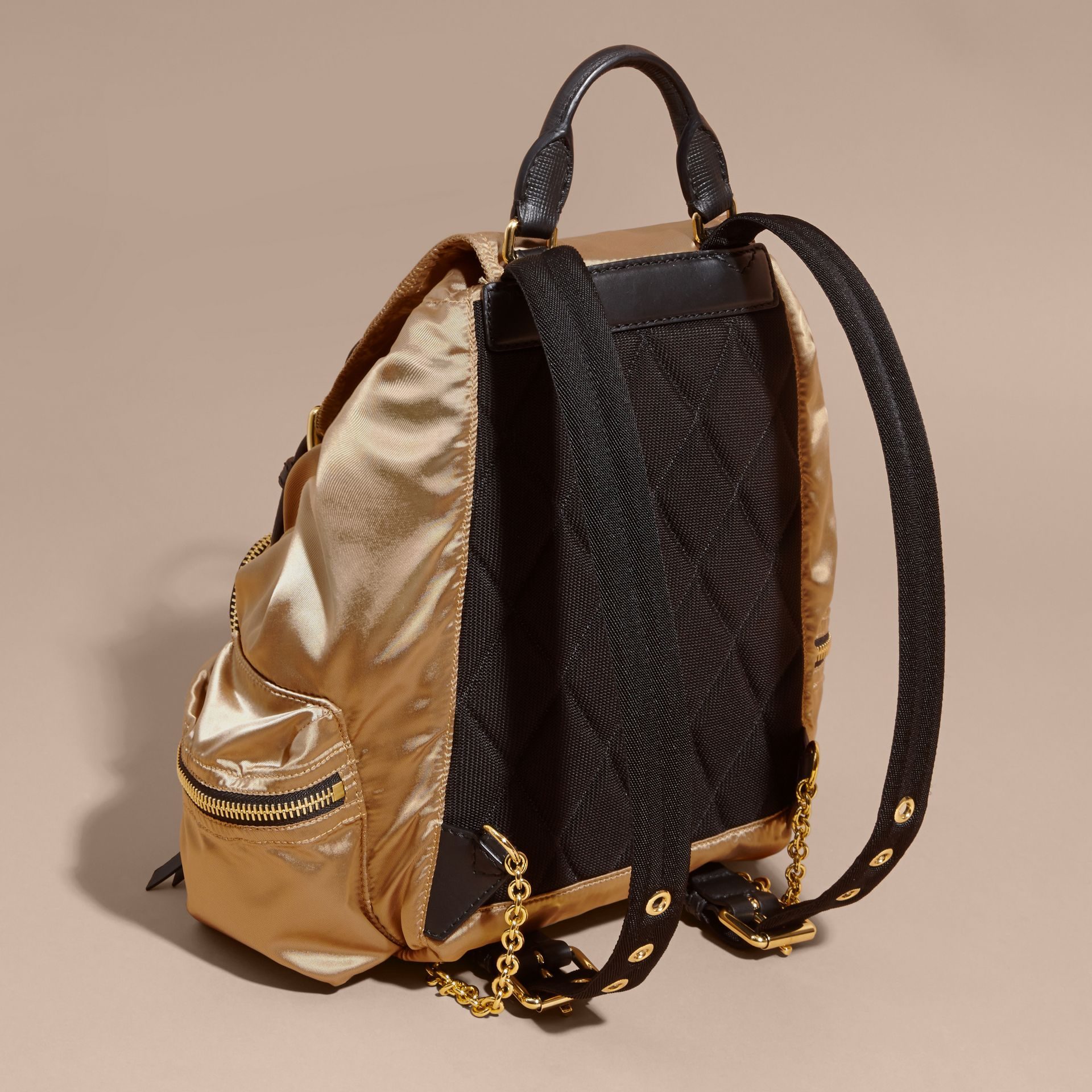 The Medium Rucksack in Two-tone Nylon and Leather Gold/black - gallery image 4