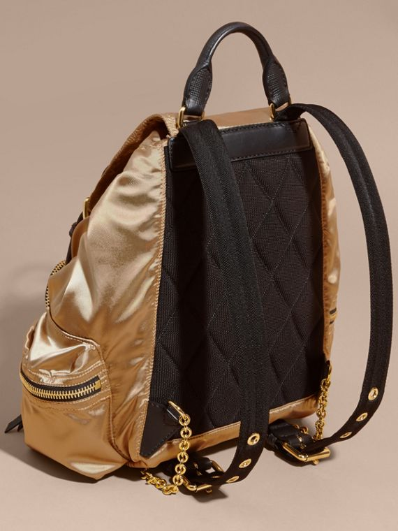 The Medium Rucksack in Two-tone Nylon and Leather Gold/black - cell image 3