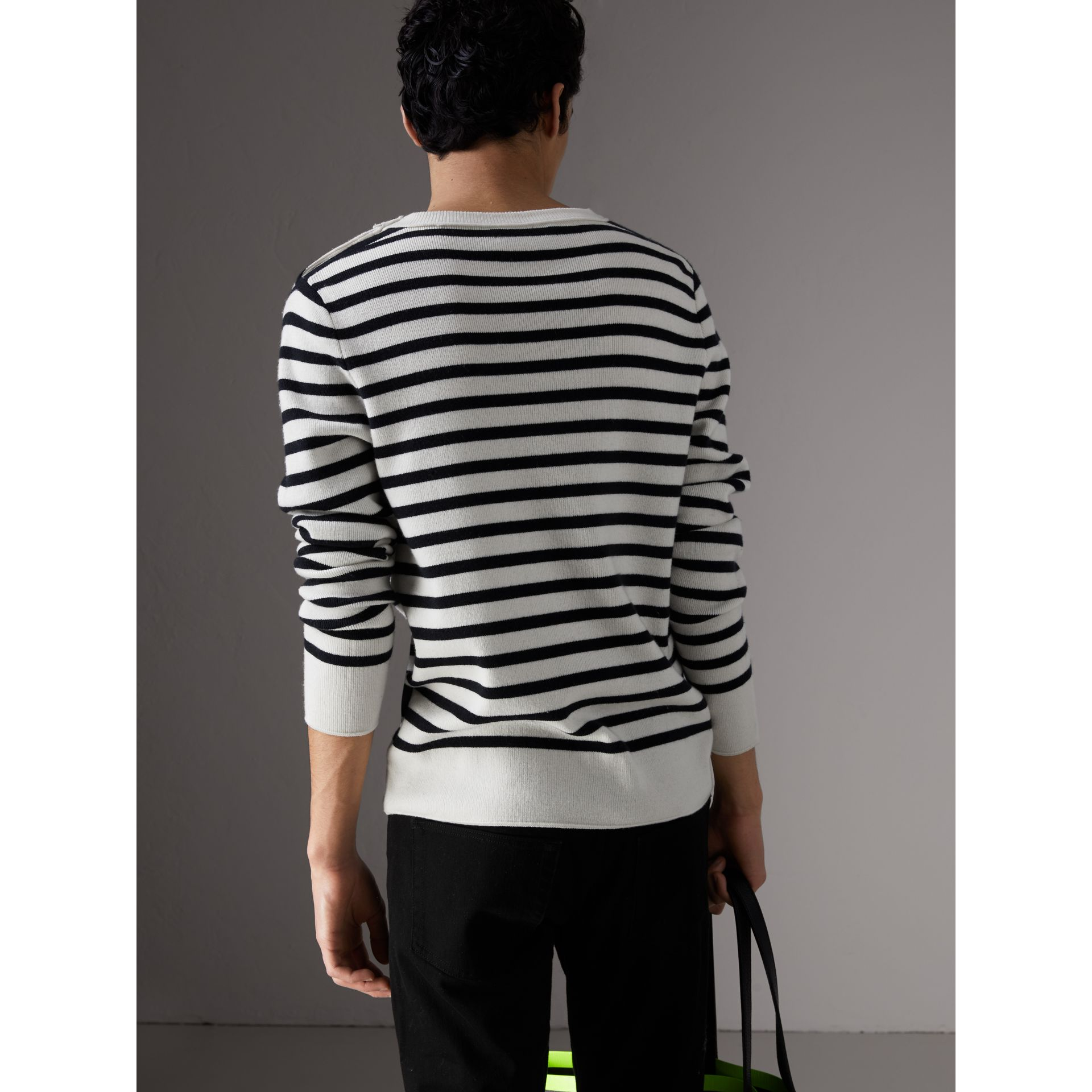 Bird Button Breton Stripe Wool Cashmere Sweater in Natural White - Men | Burberry - gallery image 2